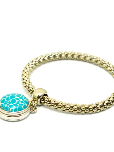 Silver tone 18mm snap bracelet