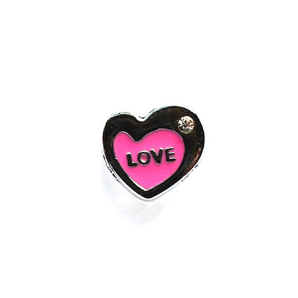 Light Pink Love Heart Slider Charm
