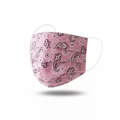 Rectangle Pleated Light Pink Bandana Fabric Mask