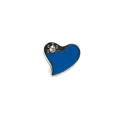 Blue Heart with Corner Stone Slider Charm