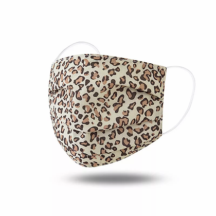 Rectangle Pleated Leopard Print Fabric Mask