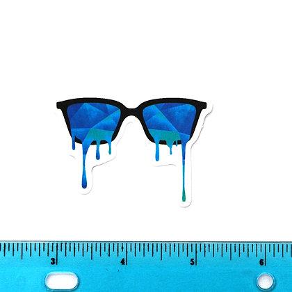 Blue Melting Sunglasses Vinyl Sticker