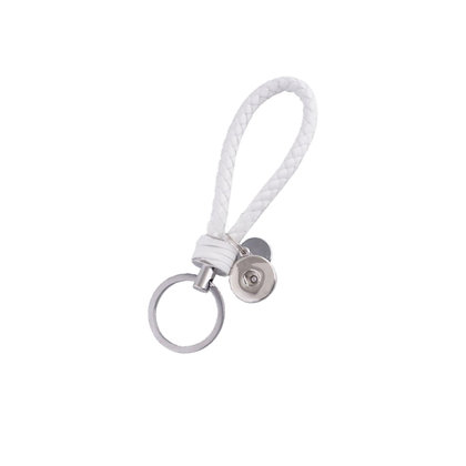 Leather Braided Snap Key Chain White