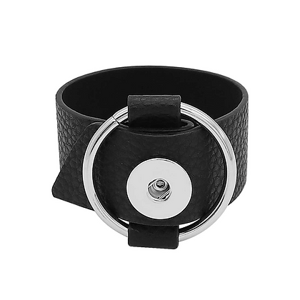 Wide Faux Leather Buckle Bracelet