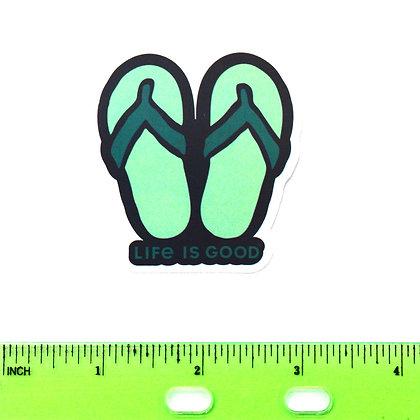 Green Life is Good Flip Flops Vinyl Sticker