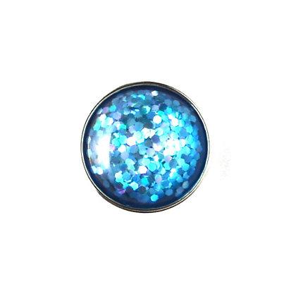 20mm Shades of Blue Glitter Snap