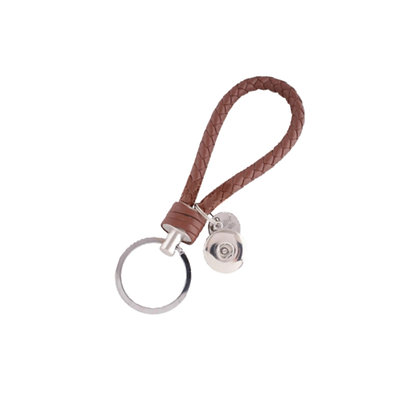 Leather Braided Snap Key Chain Brown