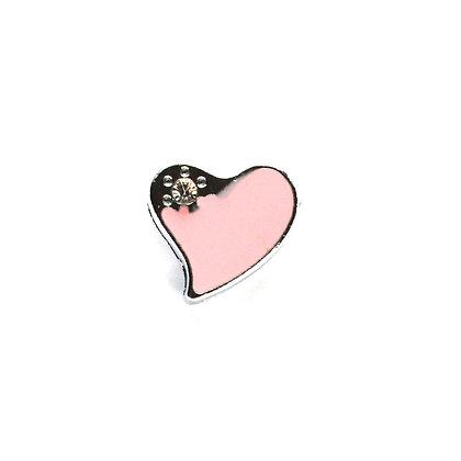 Light Pink Heart with Corner Stone Slider Charm