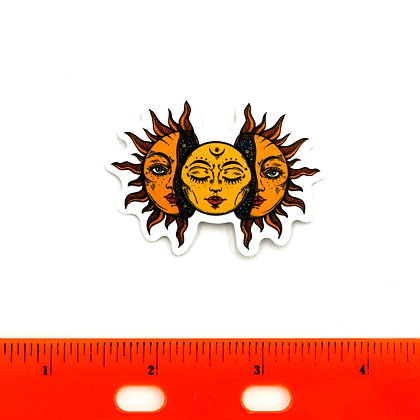 Yellow Moon in Sun Vinyl Sticker