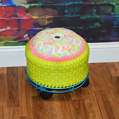 Recycled Paisley Tire Ottoman