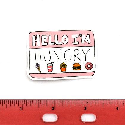 Pink Hello I'm Hungry Vinyl Sticker