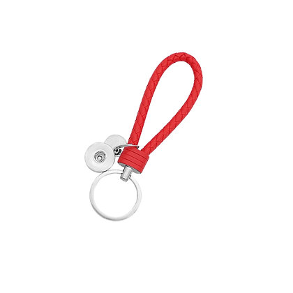 Leather Braided Snap Key Chain Red