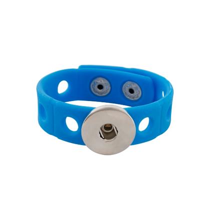 Silicone Adjust Snap Bracelet Blue