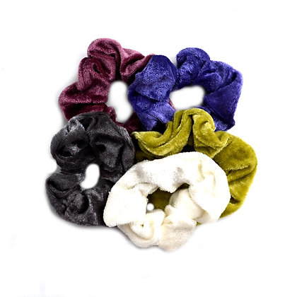 Scrunchies Velvet A Touch of Olive Set of 5