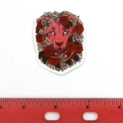 Pink Lion Face with Roses Vinyl Sticker