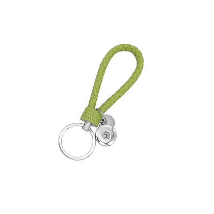 Leather Braided Snap Key Chain Lime Green