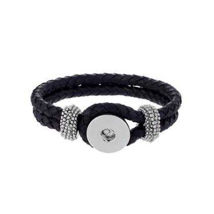 Black Double Braided Snap Bracelet