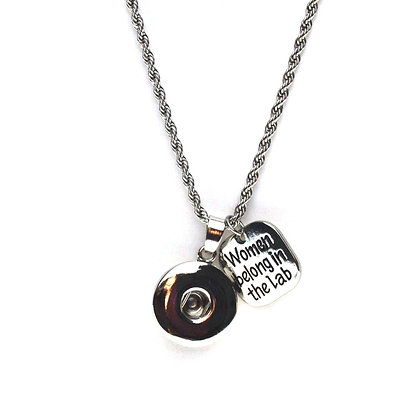 Snap Necklace with Women Belong in the Lab Charm