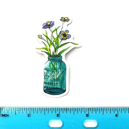 Blue Mason Jar Flowers Vinyl Sticker