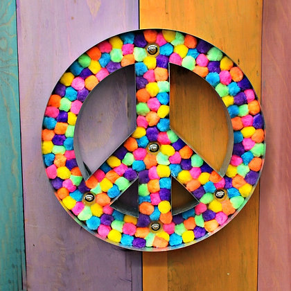 Lighted Metal Bright Pompom Peace Sign