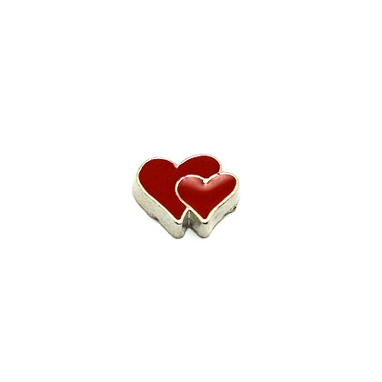 Double Red Heart Charm