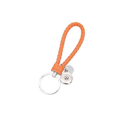 Leather Braided Snap Key Chain Orange