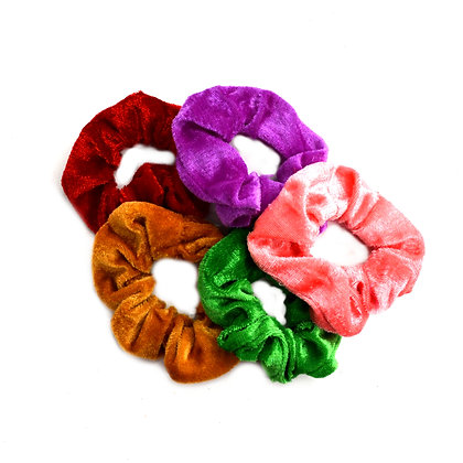Scrunchies Velvet Pop of Green Set of 5