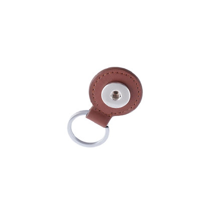 Round Leather Snap Key Chain