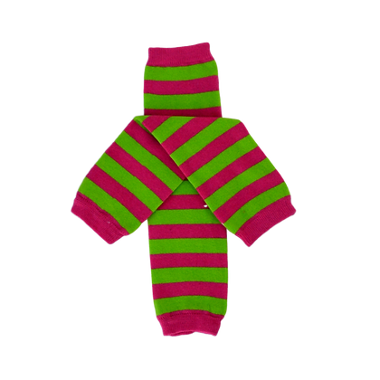 Pink and Green Striped Leg Warmers