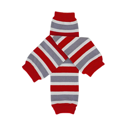 Red & Gray Striped Leg Warmers