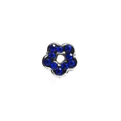 Royal Blue Rhinestone Flower Slider Charm