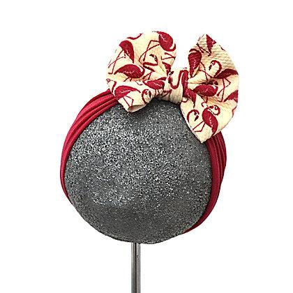 Bullet Bow - Flamingo on Wide Nylon Headband