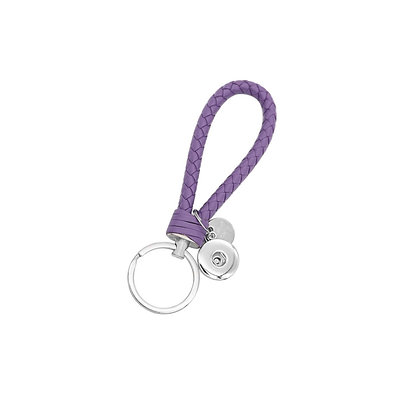 Leather Braided Snap Key Chain Lavender