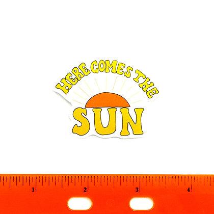 Yellow Here Comes the Sun Vinyl Sticker