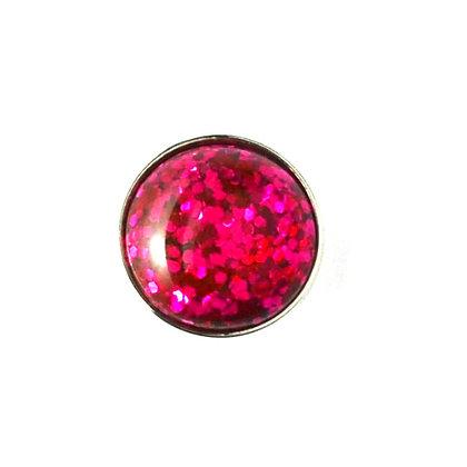 20mm Bright Pink Glitter Snap
