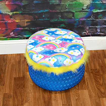 Recycled Bright Rainbow Tire Ottoman