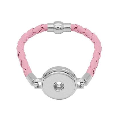 Simple Leather Braided Bracelet Light Pink