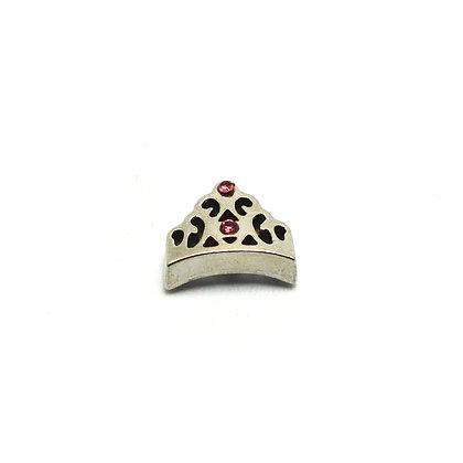 Princess Crown Pink Rhinestones Charm