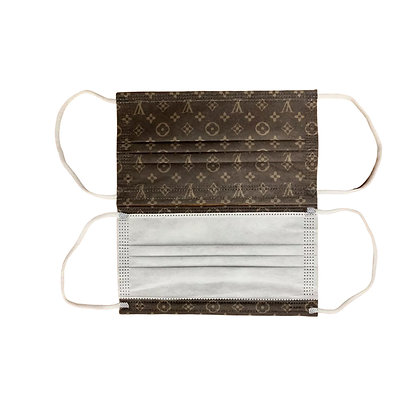 Rectangle Pleated  Disposable LV Fabric Mask Package of 5