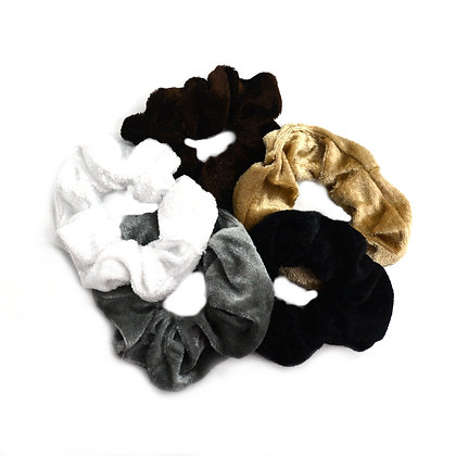 Scrunchies Velvet Neutral Set of 5