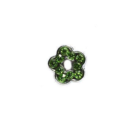 Green Rhinestone Flower Slider Charm