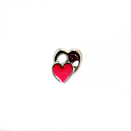 Double Heart with Rhinestone