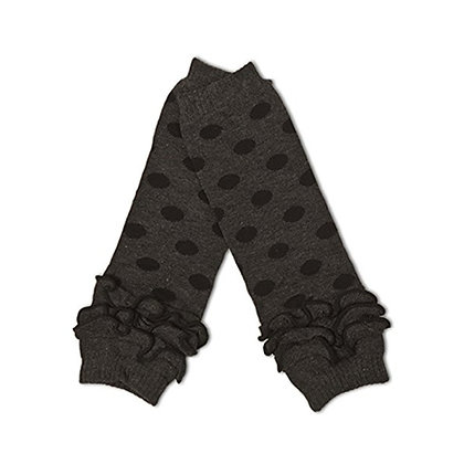 Grey with Black Dots Ruffled Leg Warmers