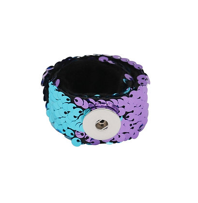 Purple & Turquoise Sequin Snap and Wrap Bracelet