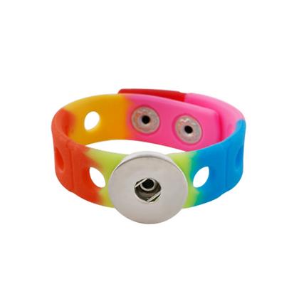 Silicone Adjust Snap Bracelet Rainbow