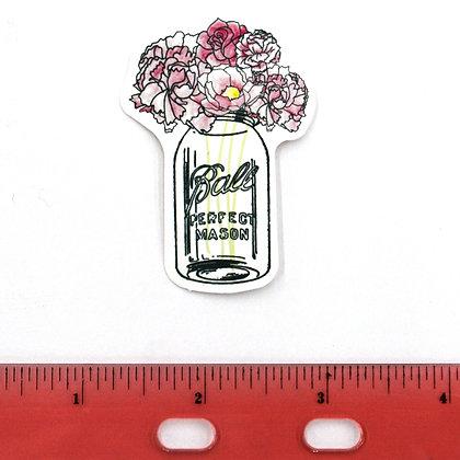 Pink Ball Jar Flowers Vinyl Sticker