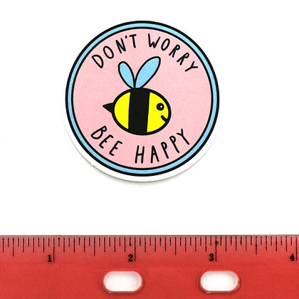 Pink Don't Worry Bee Happy Vinyl Sticker