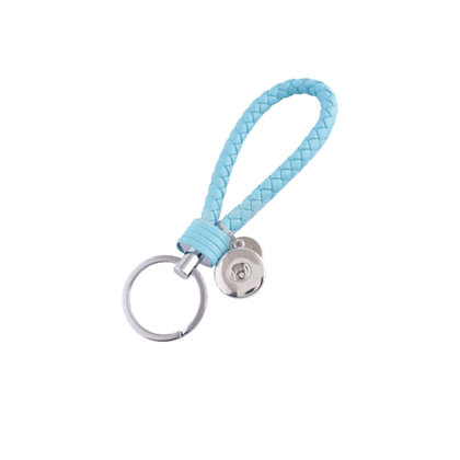 Leather Braided Snap Key Chain Light Blue