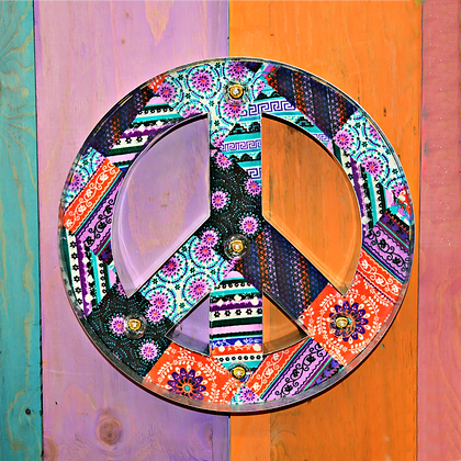 Lighted Metal Boho Peace Sign