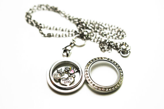 Rhinestone Trim Stainless Steel Twist Locket